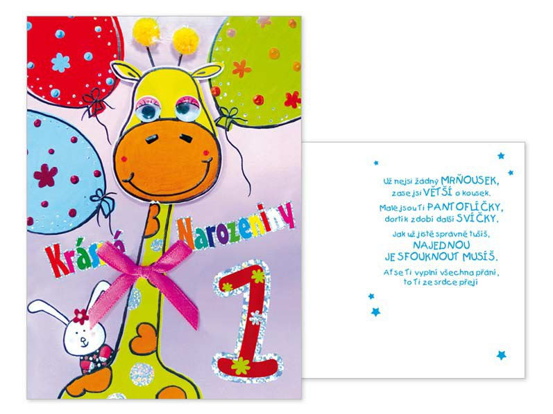 blahopřání k 1 narozeninám Blahopřání do obálky 1 rok, 01 CN 341, text / PAPÍRNICTVÍ   škola  blahopřání k 1 narozeninám