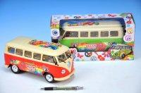 Autobus Peace plast 23cm narážecí na baterie se zvukem se světle